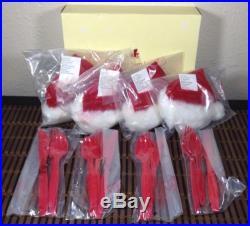 Pottery Barn Kids Santa Hat & Utensil Holder Christmas Dinner Place Set of 4 Red
