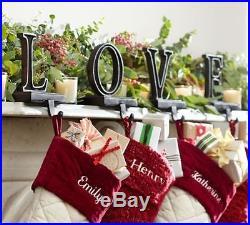 Pottery Barn LOVE word stocking Holder hanger BRONZE