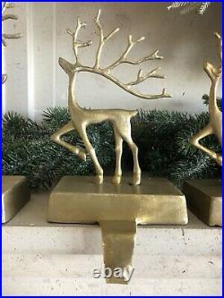 Pottery Barn Merry Reindeer Large Small Stocking Holders Christmas Deer Decor 4