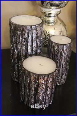 Pottery Barn Metalic Bark pillar candles set of 3