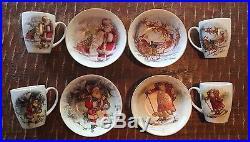 Pottery Barn Nostalgic Santa Set Of 4 Bowls And 4 Matching Mugs
