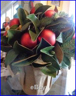 Pottery Barn Ornament Magnolia red Christmas sphere ball topiary Centerpiece New