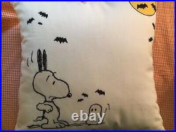 Pottery Barn Outdoor Peanuts Snoopy Pillow NEW Sold Out Halloween Fall
