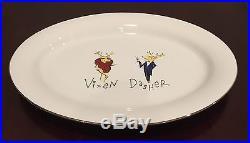 Pottery Barn Oval Reindeer Vixen & Dasher 17 Platter Rare HTF