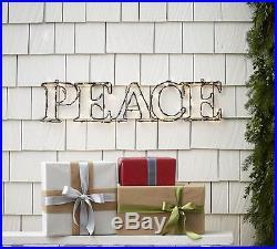 Pottery Barn PEACE Lit Sentiment sign Christmas