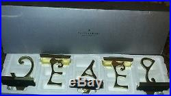 Pottery Barn PEACE Stocking Holder Brass Finish New In Box Retired Hard to Find