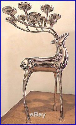 Pottery Barn Reindeer Candelabra Silver Nickel 10 Votive Candle Holder RARE
