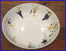 Pottery Barn Reindeer Large Serving Bowl NEW RARE & HTF 14 Diameter Featurin