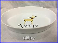 Pottery Barn Rudolph Reindeer 13 Large Oval Casserole Baker Serving Dish