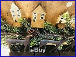 Pottery Barn SANTAS SLEIGH Deer Stocking Holders CHRISTMAS REINDEER Bronze Set 4
