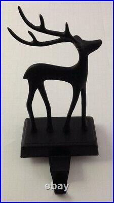 Pottery Barn SANTA'S REINDEER STOCKING HOLDER Bronze New In Box Christmas Deer