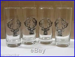 Pottery Barn STAG MEDALLION HIGHBALL GLASSES Christmas Reindeer Barware Set of 4