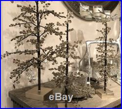 Pottery Barn S/3 FACETED MIRROR LARGE Medium SMALL Smoke TREES CHRISTMAS BLING