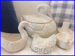 Pottery Barn S/4 12 DAYS CHRISTMAS 2 Doves 3 Hens 7 Swans TUREEN 6 Geese GRAVY
