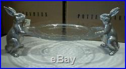 Pottery Barn Serving Platter Plate Easter Farmer Bunny With Glass Tray #1750