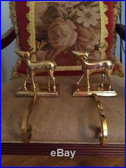 Pottery Barn Set of 2 Brass Reindeer Stocking Holders