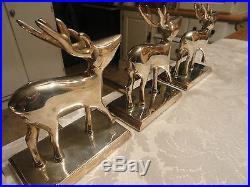 Pottery Barn Set of 4 Silver Plate Reindeer & Santa Sleigh Stocking Holders