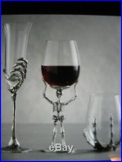 Pottery Barn Skeleton Halloween Hand Champagne Flutes Set of 4