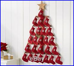 Pottery Barn Stocking Tree Advent Calendar Red 41h Wall