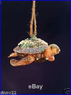 Pottery Barn Turtle Blown Glass Ornament Sea Life Ocean Coastal Beach NIB