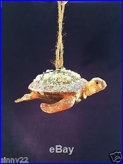 Pottery Barn Turtle Blown Glass Ornament Sea Life Ocean