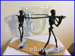 Pottery Barn WALKING DEAD Serve Bowl & Stand SKELETON Halloween NEW