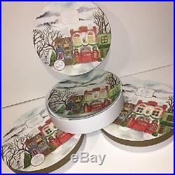 Pottery Barn WINTER VILLAGE DINNER PLATES SET OF 12 Christmas NIB free ship