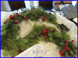 Pottery Barn pre Lit yule tide yuletide garland Christmas 5′ New wo tag