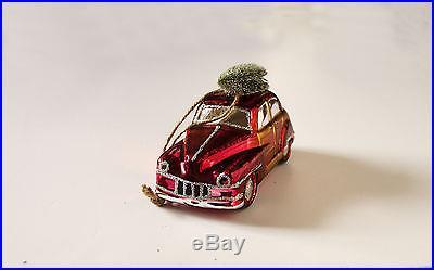 Pottery Barn woody car glass Chrismas ornament