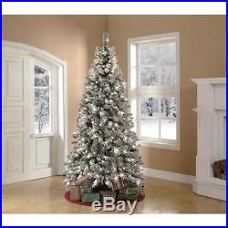 PreLit 7.5' Flocked Snowy White Christmas Tree Clear Lights Home Holiday Decor