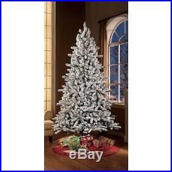Pre-Lit 7.5′ Flocked Birmingham Fir Artificial Christmas Tree, Clear Lights