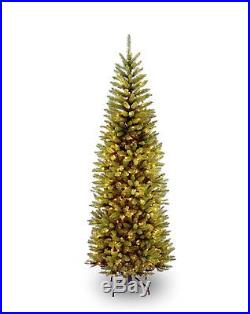 Pre-Lit Artificial Christmas Slim Pencil Tree Corner, 250 Clear Lights, 6.5 ft