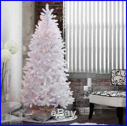 Pre Lit Artificial Christmas Tree 7.5' Holiday Decoration Living Room White LED