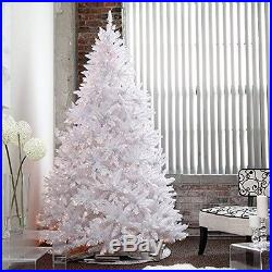 Pre Lit Christmas Tree White 7.5' Artificial 600 LED Colored Lights Xmas Stand