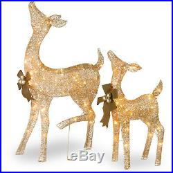 Pre Lit Deer Doe Fawn Reindeer 2 Pc Outdoor Yard Christmas Decor Decorations