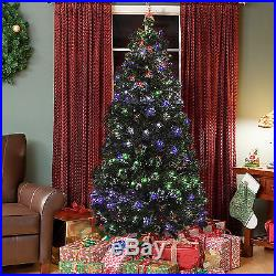 Pre-Lit Fiber Optic 7′ Artificial Christmas Tree LED Multicolor Lights and Stand