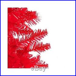 Pre-Lit Red Christmas Tree Holiday Decor Pine Artificial Real Look Indoor Party