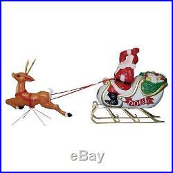 Pre-Lit Santa with Sleigh & Reindeer