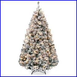 Pre-Lit Snow Flocked Artificial Christmas Pine Tree Assorted Sizes