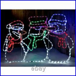 Pre-Lit Snowman Animated LED Rope Light Silhouette Christmas Decoration 105cm