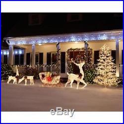 Pre Lit White Gold Reindeer Sleigh Set Outdoor Christmas