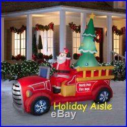 Pre-Order GIANT SANTA'S FIRE TRUCK Airblown Lighted Inflatable CHRISTMAS TREE