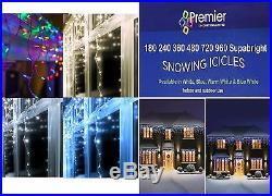 Premier 960 Snowing Icicles Warm White LED Supabright Xmas Christmas Tree Lights