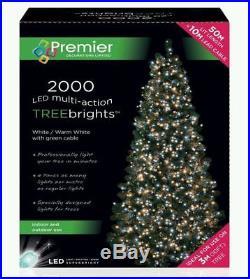 Premier Ice White Warm White 2000LED TREEBRIGHT MultiAction Christmas Tree TIMER
