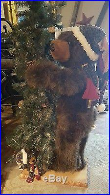 Primitive Beautiful Christmas Tree and bear Home Decor Indoor 4 FT