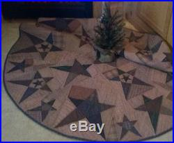 Primitive Star Quilted Country Christmas Tree Skirt Approx. 58 D Tea Dyed