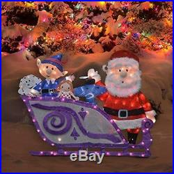 ProductWorks 42-Inch Rudolph Santa and Sleigh 2D Pre-Lit Yard Art 140 Lights