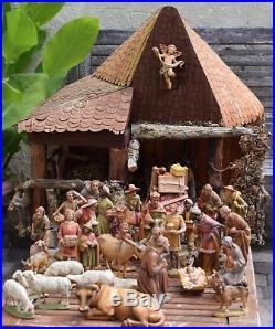 Prof Karl Kuolt ANRI 32 col Krippenfiguren 15cm/Crib Nativity figures 6 + Stall