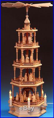 Pyramide 86cm 4-Stock elektrisch Erzgebirge Schalling Christi Geburt + Gratis