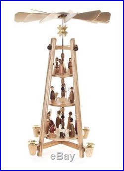 Pyramide Christi Geburt 45cm NEU Volkskunst Erzgebirge Stabpyramide Kerzen Holz